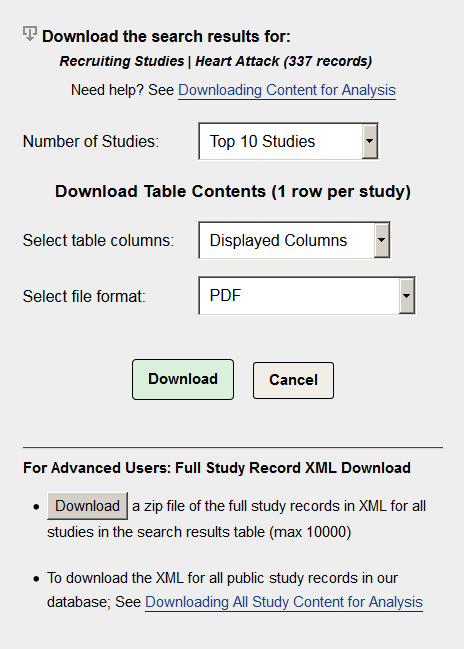 Downloading Content for Analysis - ClinicalTrials gov