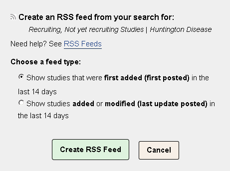 Options on the RSS feed form